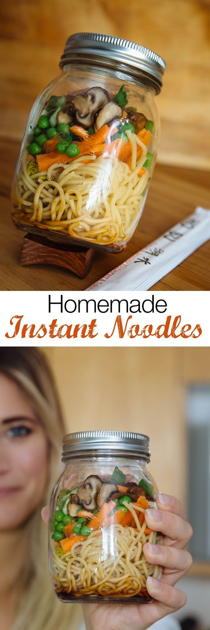 How to make Instant Noodles. Learn how to make home-made instant noodles bowls perfect for a quick lunch or snack. Make these once a week and take them to work or school for lunch! This is an easy, quick and delicious recipe that is totally vegan! _ Will would love this! He's eat cup of noodles all week if I had no say ; )