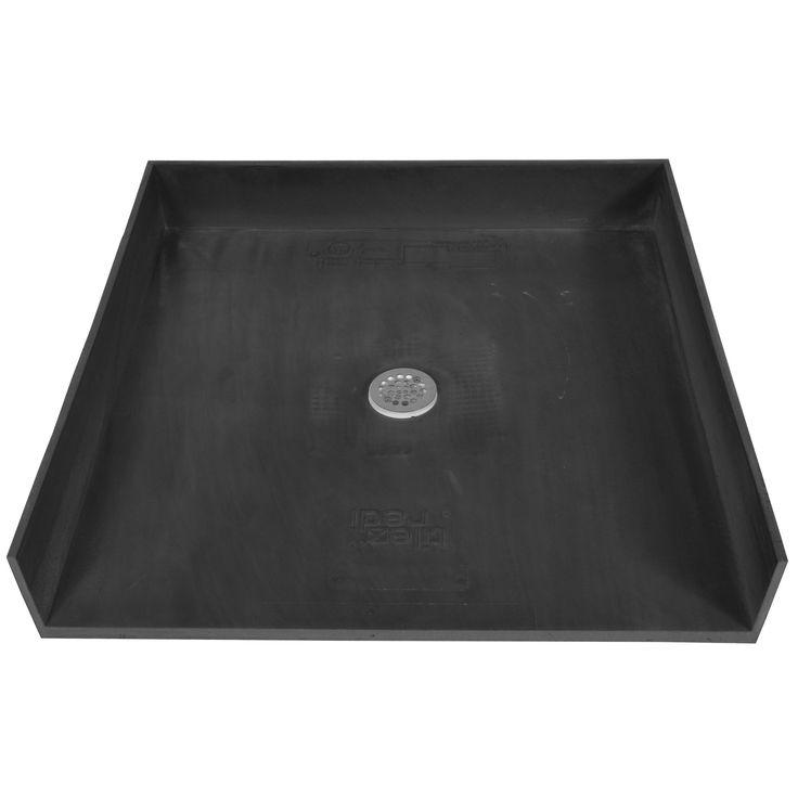 Tile Ready Shower Pan 42x42-inch Center Barrier Free PVC Drain