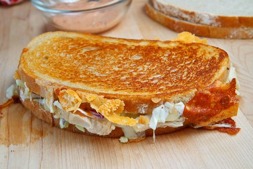 My FAVORITE! The Rachel Sandwich (aka Roast Turkey Reuben Sandwich) A twist on the classic Reuben sandwich with roast turkey, creamy coleslaw or sauerkraut, tangy russian dressing and swiss cheese in rye that is grilled until golden brown and the cheese has melted.