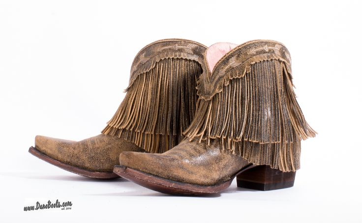 Brown Western Bootie Boots with fringe and arrow embroidery design for Junk Gypsy by Lane Boots of Texas. JG0007A