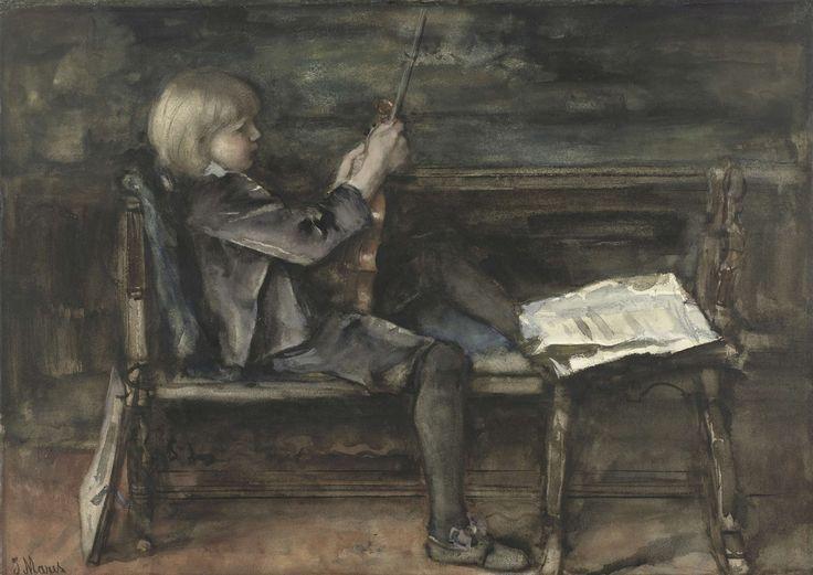 Portret van Willem Matthijs Maris, met viool, Jacob Maris, 1872 - 1899