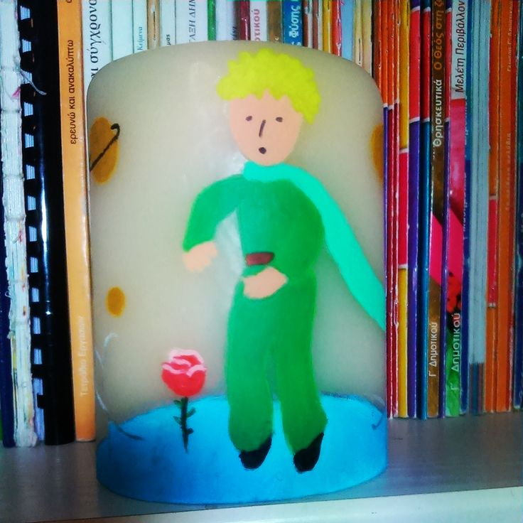 Little Prince painting on candle