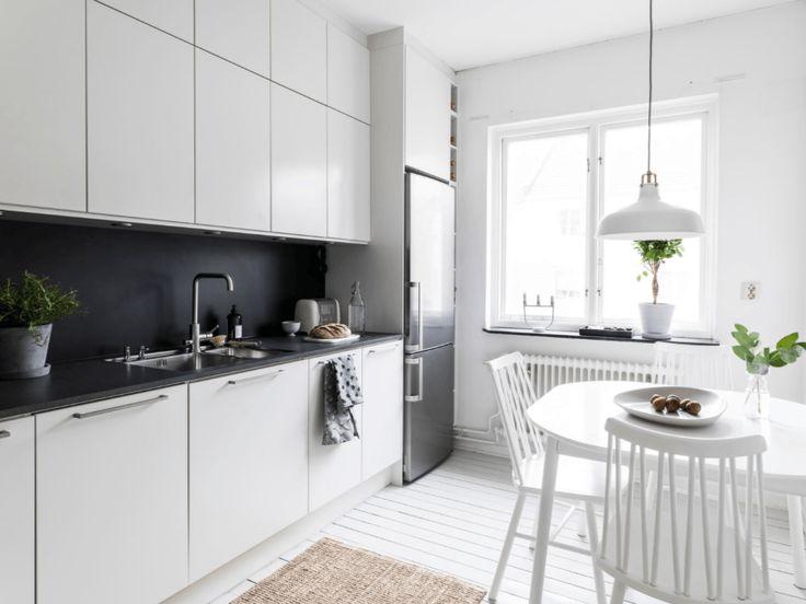 decor escandinava - cozinha preto e branco