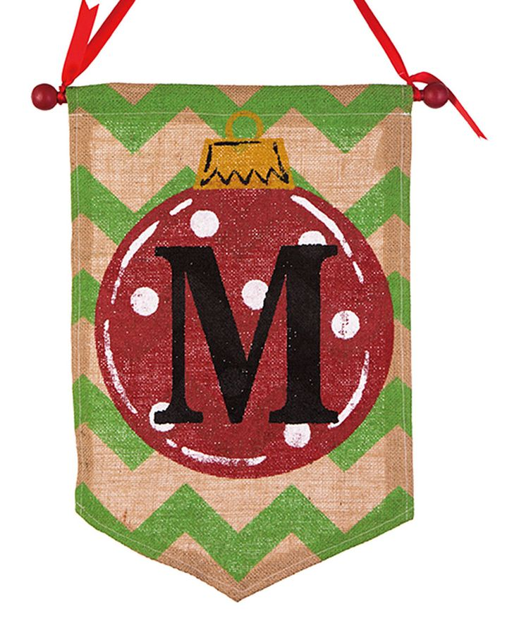 This Red & Green Chevron 'M' Initial Banner by Glitzhome is perfect! #zulilyfinds