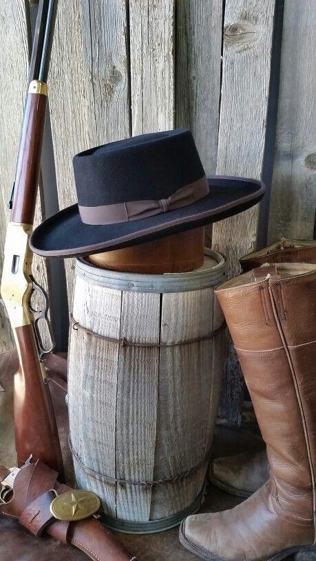Telescope Black old western cowboy hat  2e28474ca106