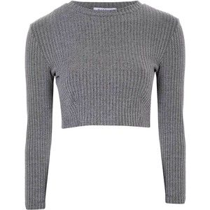 Glamorous Grey Ribbed High Neck Crop Top