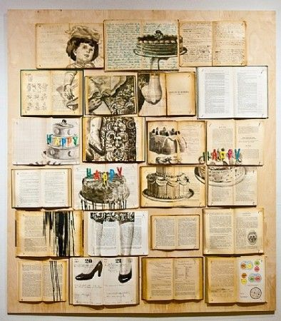 THE BOOK PAINTINGS OF EKATERINA PANIKANOVA Artist Ekaterina Panikanova layers her paintings across a collage of discolored pages still bound...