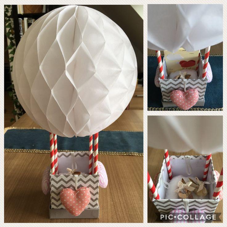 Taufgeschenk, Heißluftballon, Ballon, Herzchen, Strohhalm