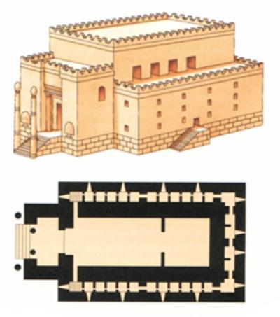 Reconstrucción hipotética y planta del Templo de Jerusalén. Fue construido S.Xa.C. en Jerusalén, Palestina al sur del País de Canaan, tierra prometida a los israelitas por Yaveth. Es la época de máximo esplendor de la monarquía hebrea con David, Saúl y Salomón. El Templo de Salomón fue construido por arquit. fenicios que Hiram de Trio, suegro de Salomón, puso a disposición de este. La mayor información sobre el templo procede la Biblia y de Flavio Josefo. El templo siguió la tipología…