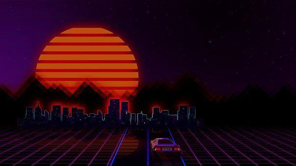 Style Retro Futuristic Neon Figure Retro Videos Retro Video Games Retro Background Neon sunset wallpaper 1920x1080 gif