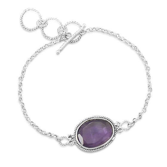 Oval Amethyst Toggle Bracelet