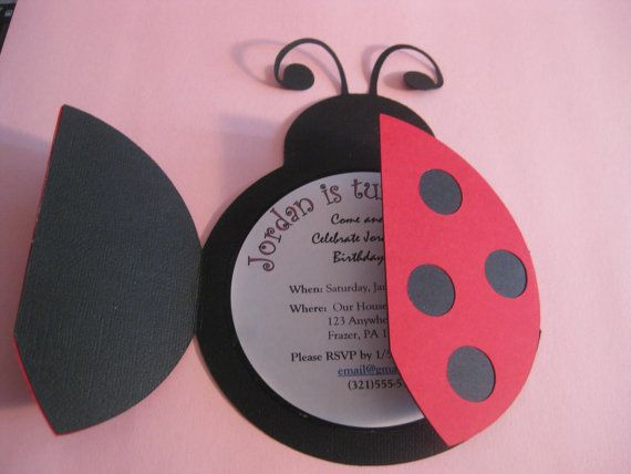 Lady Bug Invitations on Etsy, $26.00  *WE CAN TOTALLY MAKE THIS* ARTS AND CRAFTS