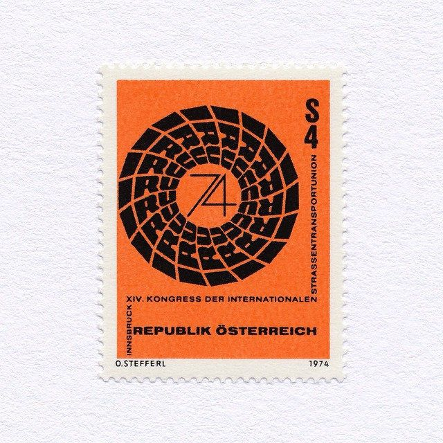 14th International Road Transport Union Congress (4S). Austria, 1974. Design: Otto Stefferl. #mnh #graphilately | by BlairThomson