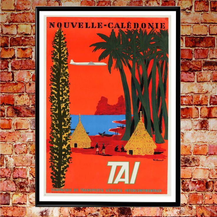 New Caledonia Poster Vintage Airline Poster Orange Wall Art Vintage Travel Poster  Nouvelle Caledonie French Art (Sizes up to 50cm x 70cm) by WallBuddy on Etsy https://www.etsy.com/listing/519570820/new-caledonia-poster-vintage-airline