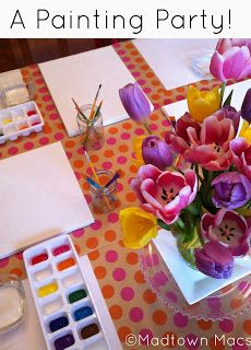 A Painting Birthday Party--love the ice tray for paints
