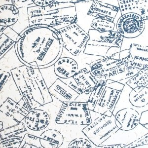 Geoffrey Beene travel passport print shirt $10