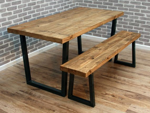 Lewis U frame Rough Industrial Reclaimed Sawn Wood Dining Table Metal Various Size Stripped Pine