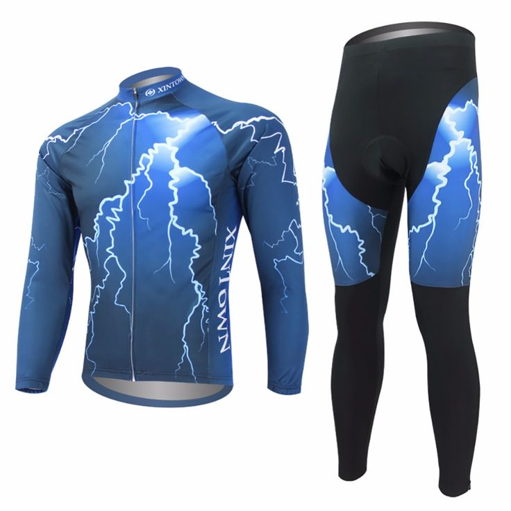 Lightning Pattern Breathable MTB Road Bike Clothing Bicycle Sportswear Long Sleeve Mens Cycling Jersey Set
