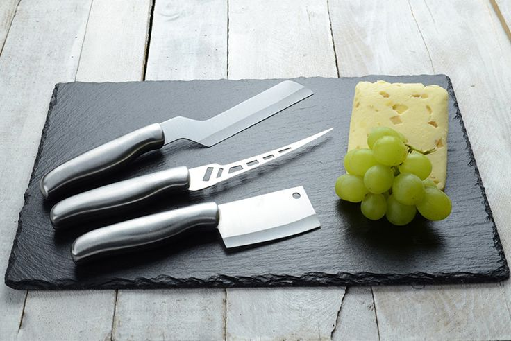 4pc Slate Cheeseboard & Culinary Set