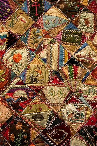 A Crazy Quilt: Crazy Quilts, Quilts Crazy, Crazyquilt, Vintage Cards Sewing, Quilts Embroidery, Vintage Patchwork Quilts, Quilts 1883 1893, Gorgeous Crazy, Embroidery Quilts