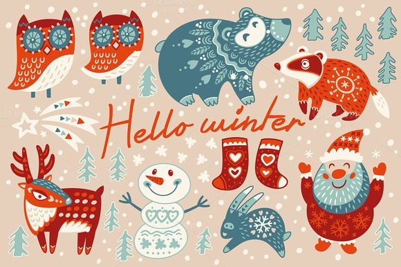 Hello winter characters set by PenguinHouse on Creative Market