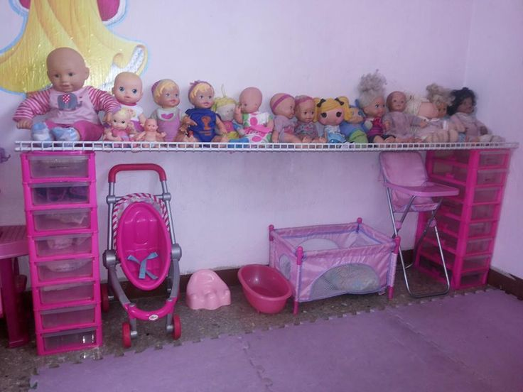 Baby station for playroom, how to organize baby dolls along with useful compartments for their accessories and clothes