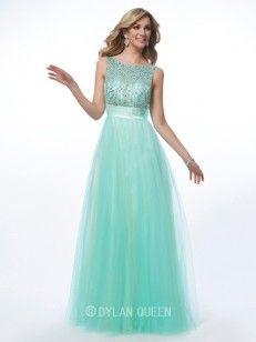 A-line/Princess Slagträeau/Båtringning Bärlbroderi Floor-length Net Prom Dresses