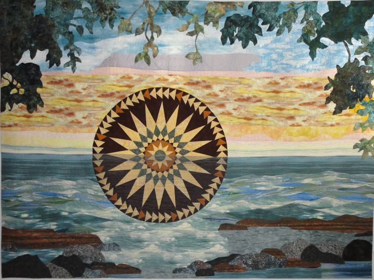 """Mariner's Sunset"" Large quilted wallhanging (96"" x 72"")"