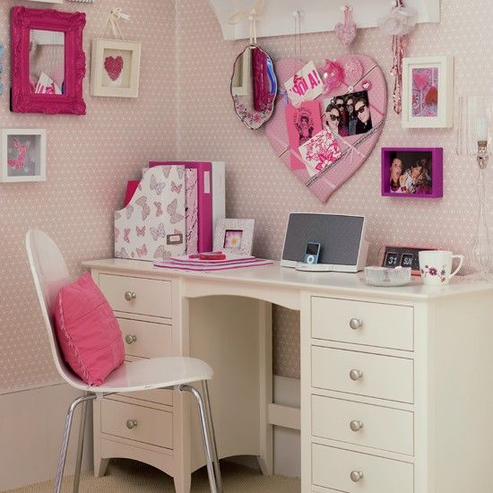 Dedicated study area | Girl's bedrooms | Bedroom ideas | Image | housetohome.co.uk Polka pink paper?