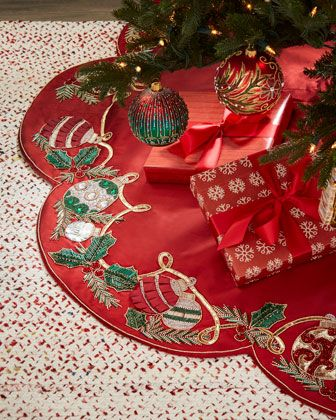 Kim Seybert Red Green Collection Holiday Tidings Tree Skirt