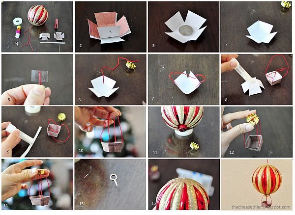 Sparkling and Colorful DIY Hot Air Balloons Christmas Ornaments