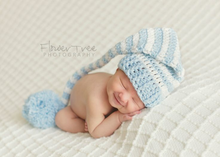 Newborn Elf Hat, Newborn Boy Hat, Crochet Infant Hat, Newborn Photo Prop, Baby Boy Hat, Newborn PomPom Hat, Blue And White Hat, Longtail Hat by VioletsPlayground on Etsy https://www.etsy.com/listing/82092869/newborn-elf-hat-newborn-boy-hat-crochet