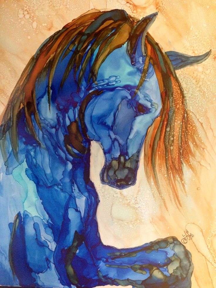 Majesty in alcohol ink by me Laurie Henry. Copyright 2014.