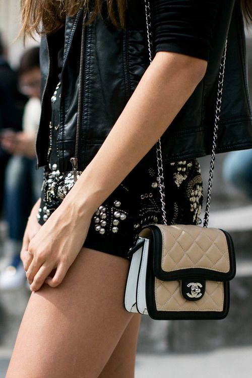 VOGUEmodELLE - fashion power - Chanel Bag  love the stud shorts! http://chanel-onlinestore.blogspot.com/  chanel Outlet .Most bags are under $159 !THIS OH MY GOD