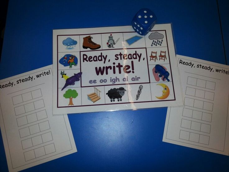 Another Ready, Steady, Write game specifically for the Phase 3 graphemes ee oo igh ai air. Roll the dice and write the word in the phoneme frame ( one grapheme per square ). Start on any picture you like. If you land on a word you've already written, miss that turn. LG☆