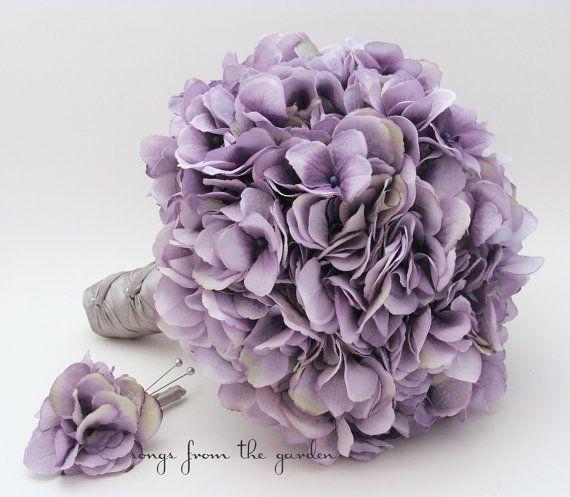 Wedding Bouquet Lavender Silk Hydrangea by SongsFromTheGarden