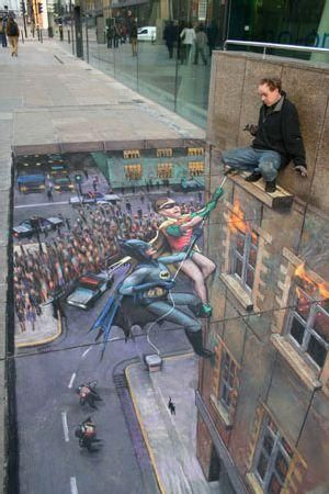 """I love these... Example Of 3D Sidewalk Art: Batman & Robin Rescue The Artist From a """"Tall Building""""!"""