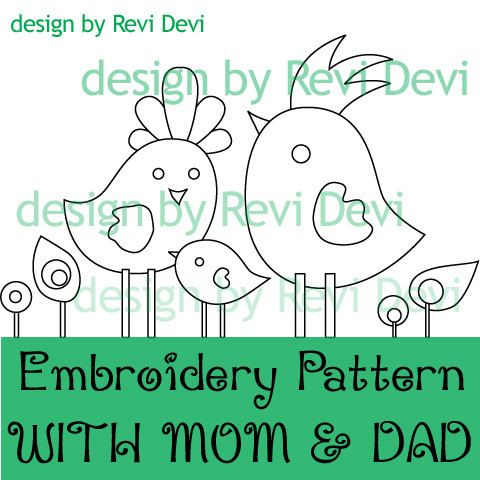 With Mom and Dad Embroidery Pattern 15027.. Instant by revidevi