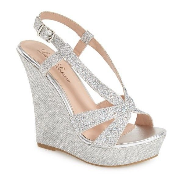 "Lauren Lorraine 'Nika' Crystal Wedge, 4 3/4"" heel (955 ARS) ❤ liked on Polyvore featuring shoes, sandals, silver, glitter wedge sandals, wedge heel sandals, strappy platform sandals, adjustable strap sandals and strappy wedge sandals"