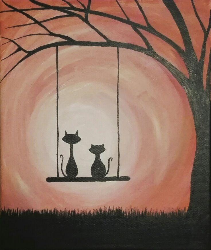 Friendship, bestfriends, cats, paintedcats, sunset