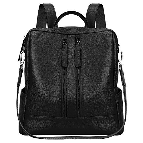 S-ZONE Lightweight Women Genuine Leather Backpack Casual Shoulder Bag Purse (Black) - S-ZONE Lightweight Genuine Leather Backpack Purse Daily Casual Shoulder Bag for Girls Women Dimension(L*W*H): 11inch/28cm x 4.7inch/12cm x 11.4inch/29cm Weight: 1.54lbs/0.7kg Occasion: Dating, Working Place, Shopping, Traveling, etc Structures: External: 2 x front zipper pockets for keys, tissues...