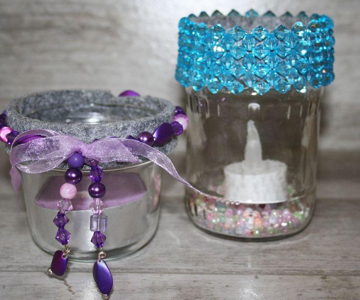 Hübsche Teelichthalter aus Vorratsgläsern
