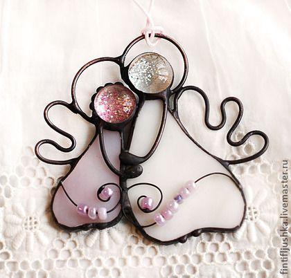 Interior handmade. Fair Masters - handmade stained glass angels pair 49. Handmade.