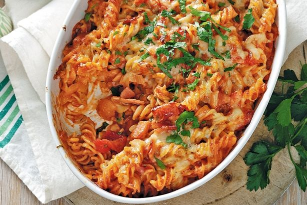 This cheesy pasta bake is sure to become a favourite with the kids.