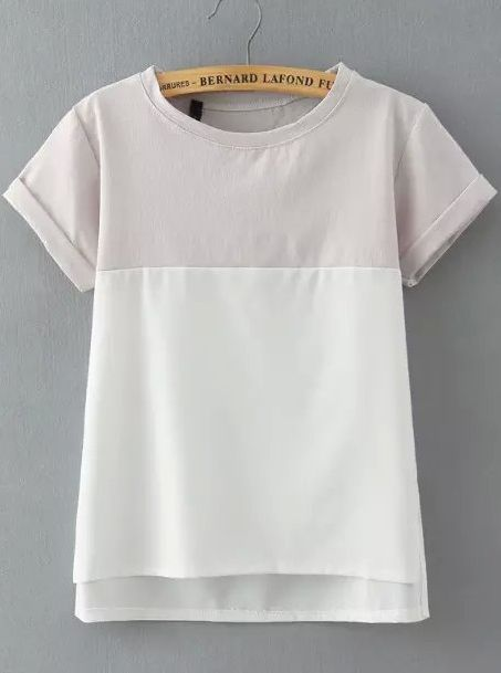 Grey White Short Sleeve Loose Blouse 12.83