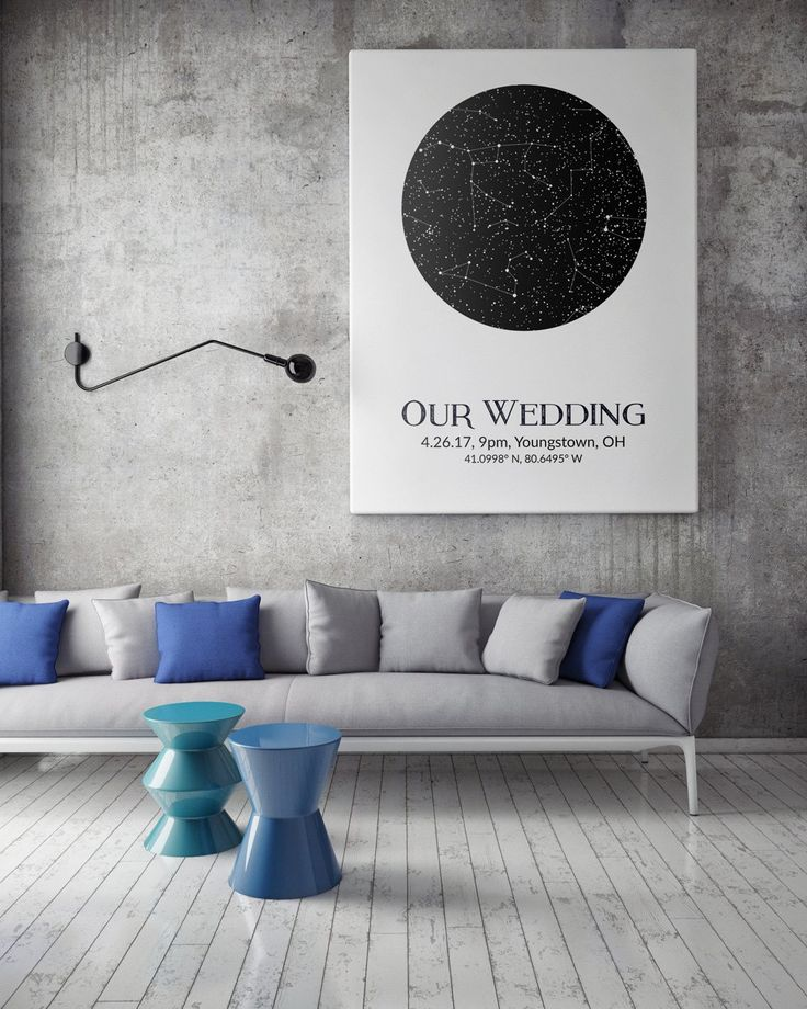 Gifts For Wedding Night: Custom Star Map Night Sky Print With Constellations