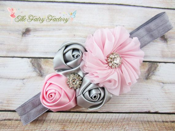 Pink and Gray Headband, Satin & Chiffon Flowers w/ Rhinestones Headband or Barrette, Flower Girl Headband, Baby Child Girls Headband