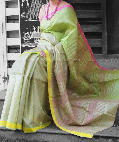 Elegant & Fine Tussar Silk Saree with dual tone borders