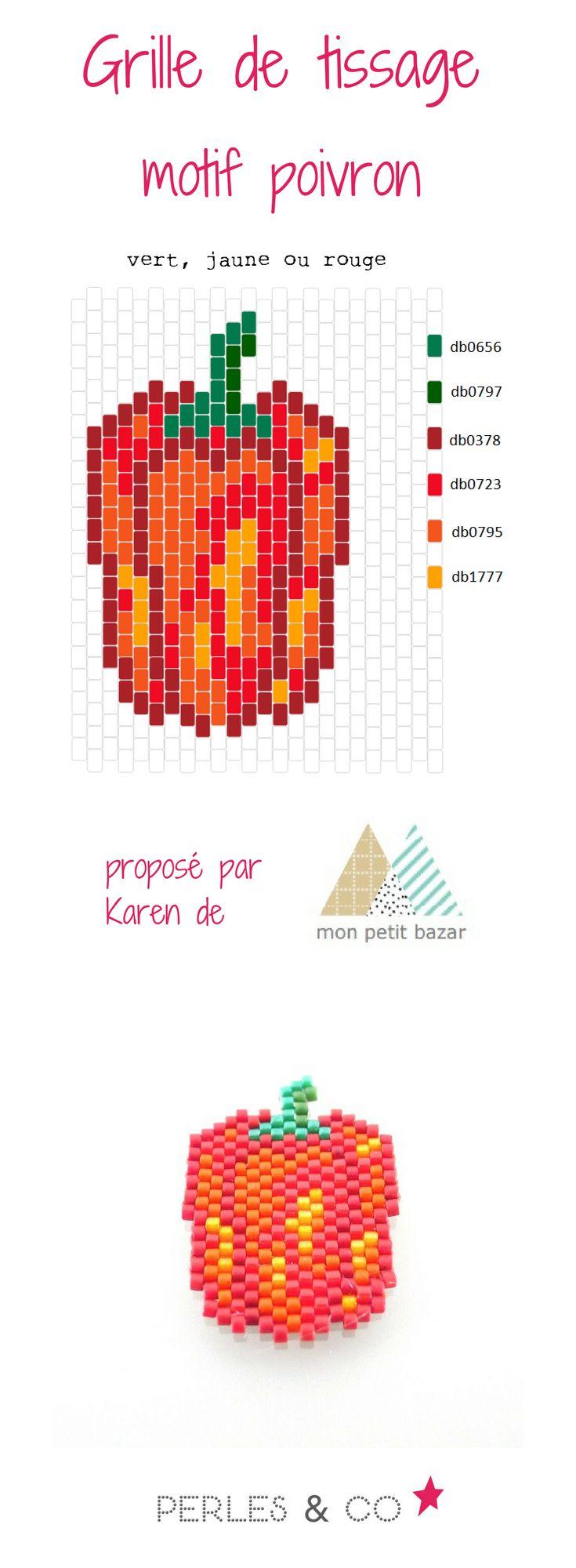 """Et si on s'amusait à tisser un poivron? Grâce à  Karen du blog Mon petit bazar, voici un diagramme nommé  """"vert, jaune ou rouge""""  pour réaliser un motif coloré en perles Miyuki Delicas 11/0.      Ce motif peut être réalisé avec les techniques brickstitch ou peyote.  Retrouvez le tutoriel sur la boutique en ligne Perles & Co >> https://www.perlesandco.com/Diagramme_poivron_en_perles_Miyuki_Delicas_par_Mon_petit_bazar-s-2773-47.html"""