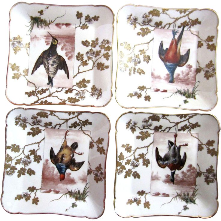 Last set!   Unique and Rare Antique Wild Game Plates This set consists of four plates...each with a different game fowl Expertly hand painted feathers